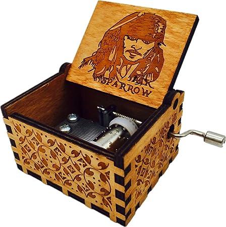 Musique /à manivelle bo/îte /à musique en bois sculpt/é antique Cadeaux cr/éatifs pour lartisa Bo/îte /à musique en bois Bo/îte /à musique en bois Pirates des Cara/ïbes Th/ème principal