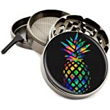 Rainbow Pineapple Colorful 4 Piece Large Silver Aluminum or Zinc Metal Herb Grinder 2.5 Diamond Cut Titanium teeth (Zinc) by Swagstr