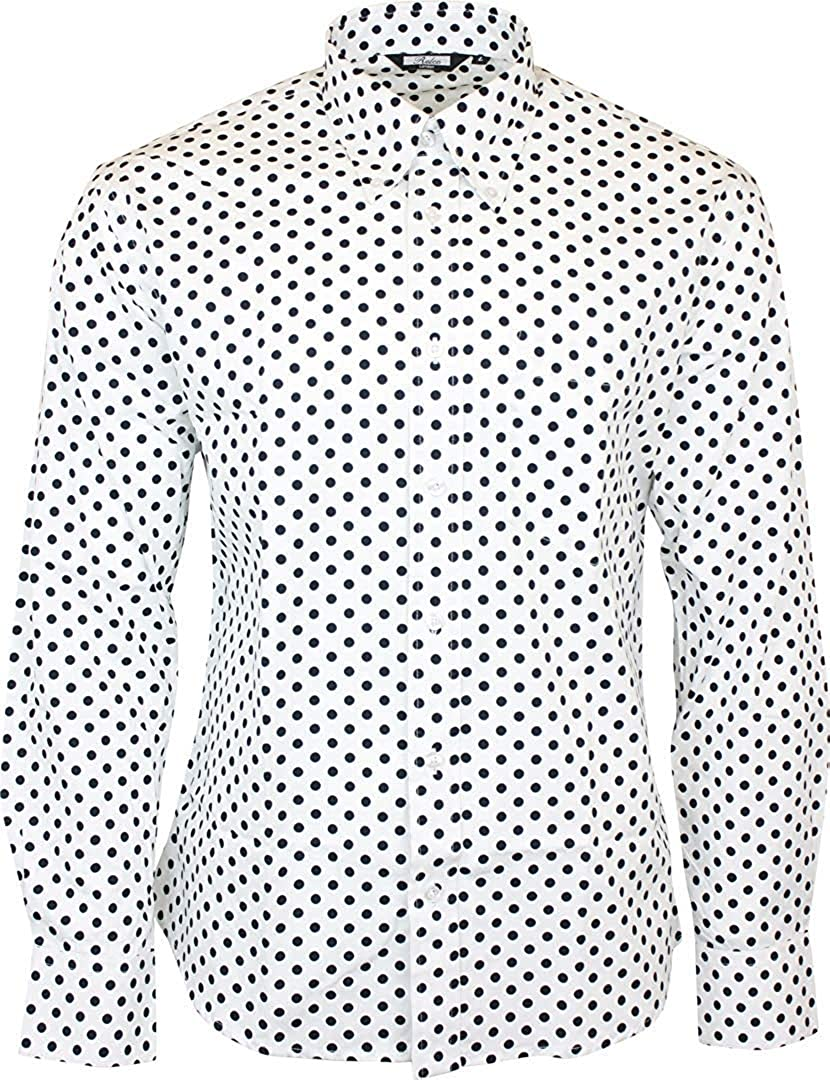 Vintage Inspired Dresses & Clothing UK Relco Mens White Polka Dot Longsleeve Button Down 100% Cotton Shirt £31.99 AT vintagedancer.com