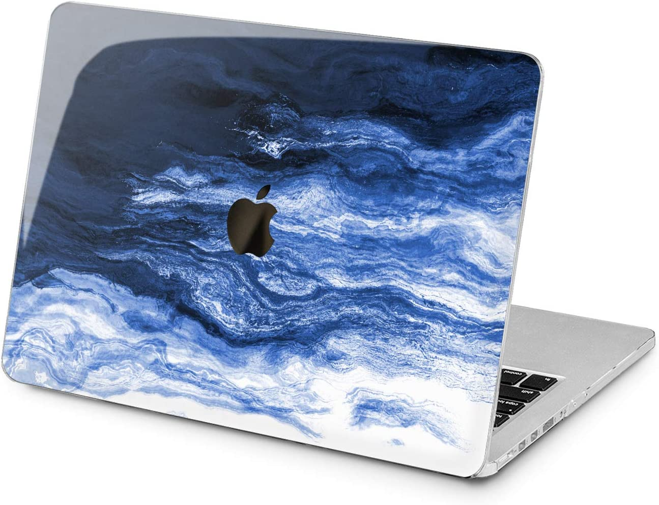 "Cavka Hard Shell Case for Apple MacBook Pro 13"" 2019 15"" 2018 Air 13"" 2020 Retina 2015 Mac 11"" Mac 12"" Art Paint Laptop Creative Indigo Print New Cover Aesthetic Design Protective Waves Plastic Blue"