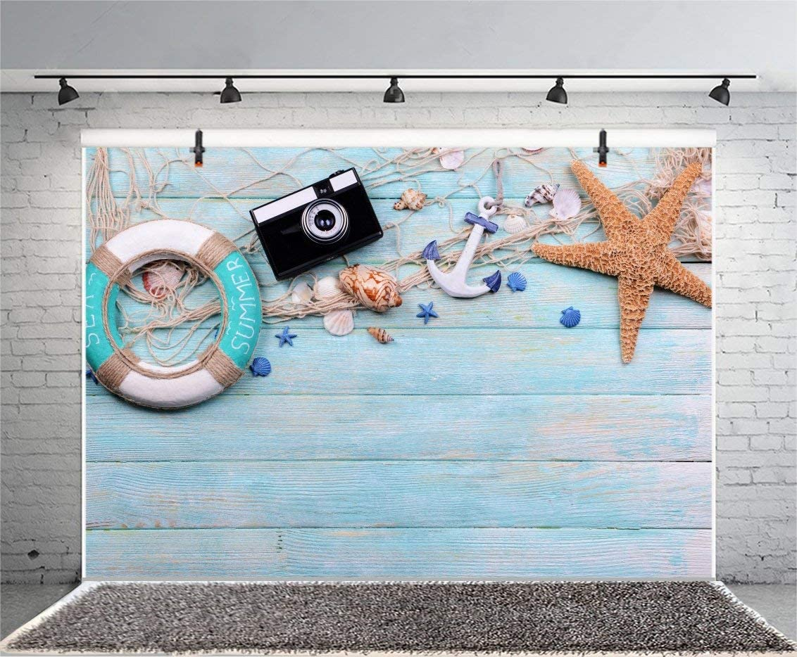 10x8ft Vinyl Summer Nautical Style Backdrop for Photography Lifebuoy Anchor Camera Starfish Blue Wooden Board Background Tourism Vacation Man Woman Kids Photo Booth Shoot Studio Props