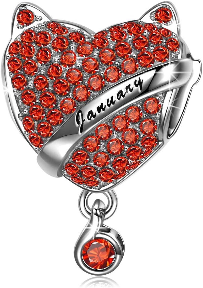 NINAQUEEN® Bead Charm Piedra de Nacimiento Plata de Ley 925, Zirconia cúbica, Grabados, con Caja de Regalo