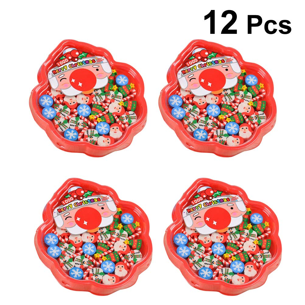 YeahiBaby Christmas Erasers Favors Gifts School Stationery for Students Children Gifts 12 Boxes