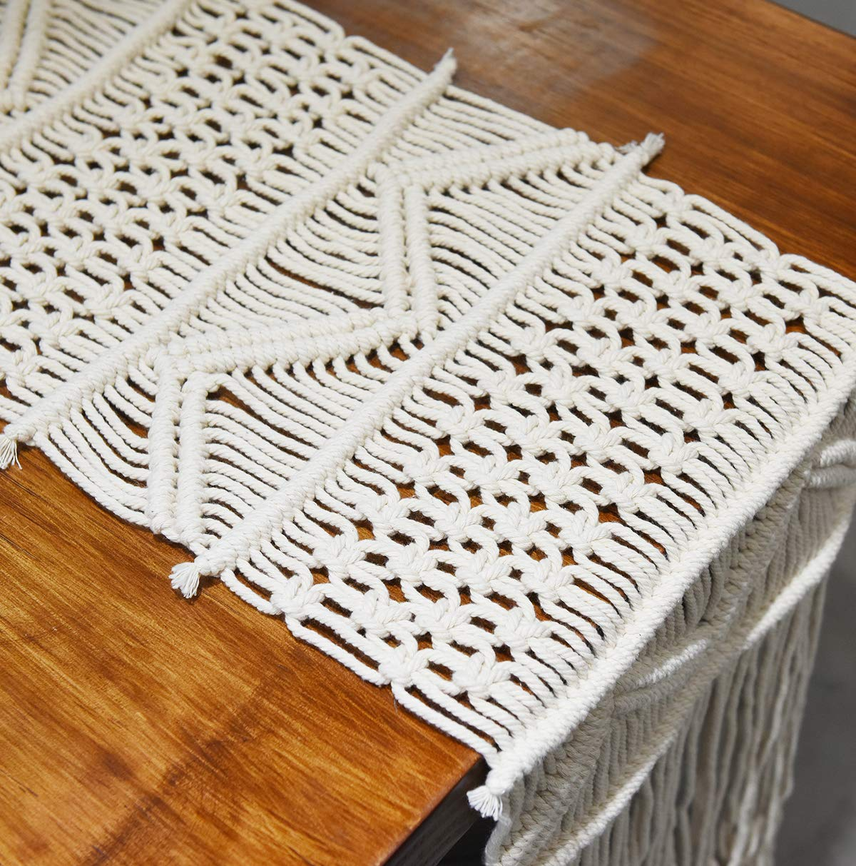 Flber Macrame Table Runners Handwoven Boho Wedding Table Decoration Bedding Blanket,13.8''x 94'' (13.8''x 94'')