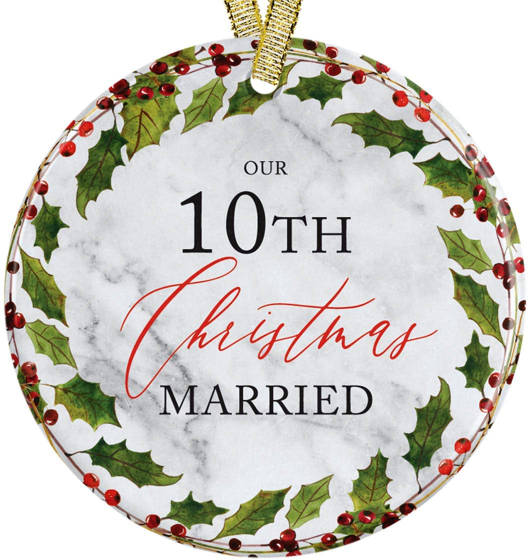 Our 10th Christmas Married 10 Year Anniversary Christmas 2020 Red Floral Mistletoe Ceramic Round Ornament, Collectible 3