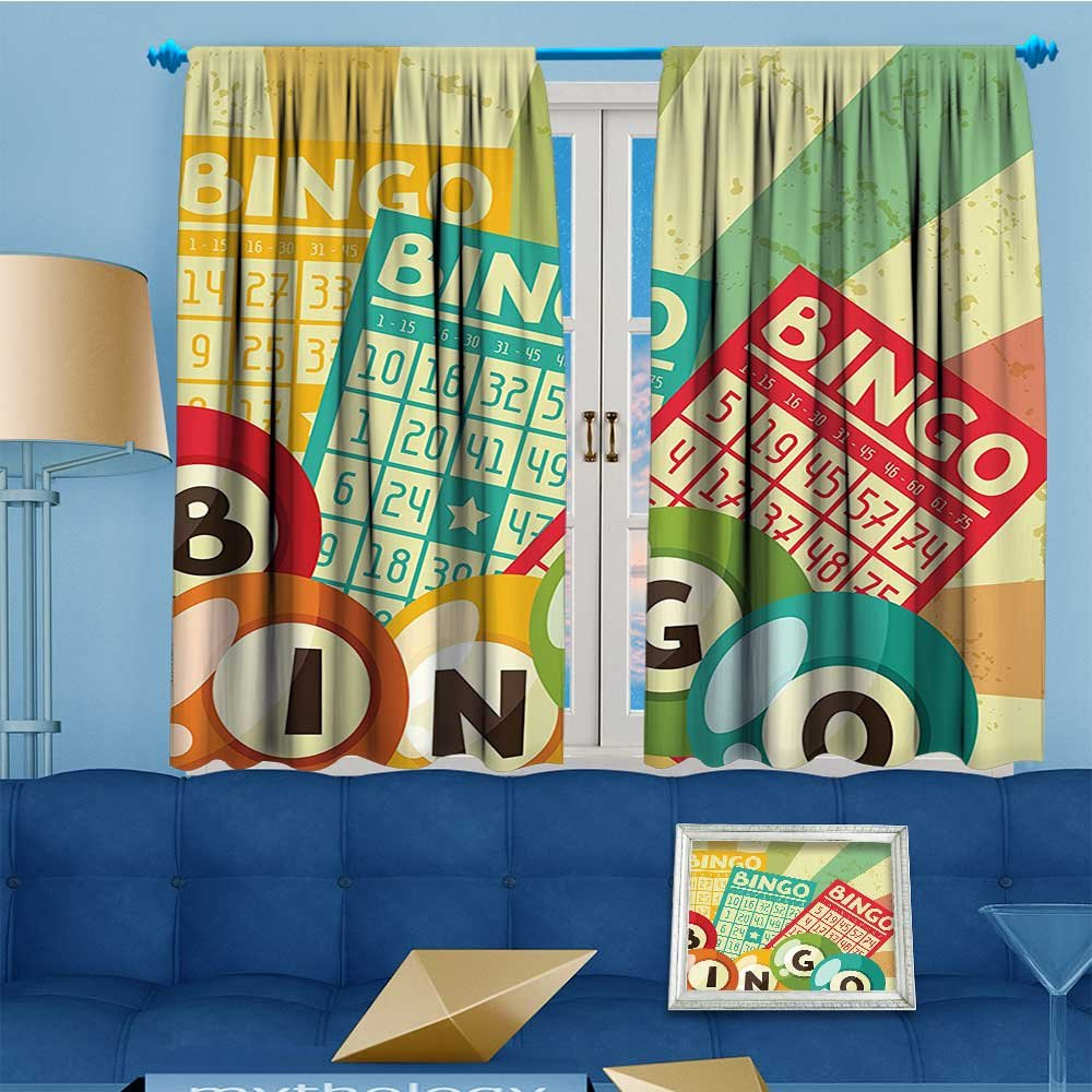 Mikihome Thermal Insulated Grommet Unlined Window Curtains Bingo Game Ball Cards Pop Art Stylized Lottery Hobby Celebration Theme Set Two Panels 63'' W x 45'' L
