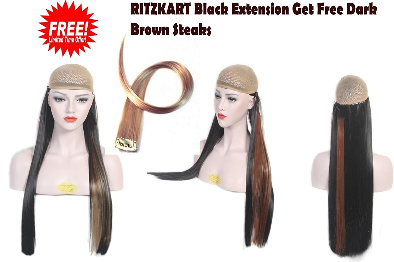 Ritzkart 25inc Black Straight Hair Extension Get Offer Dark Brown