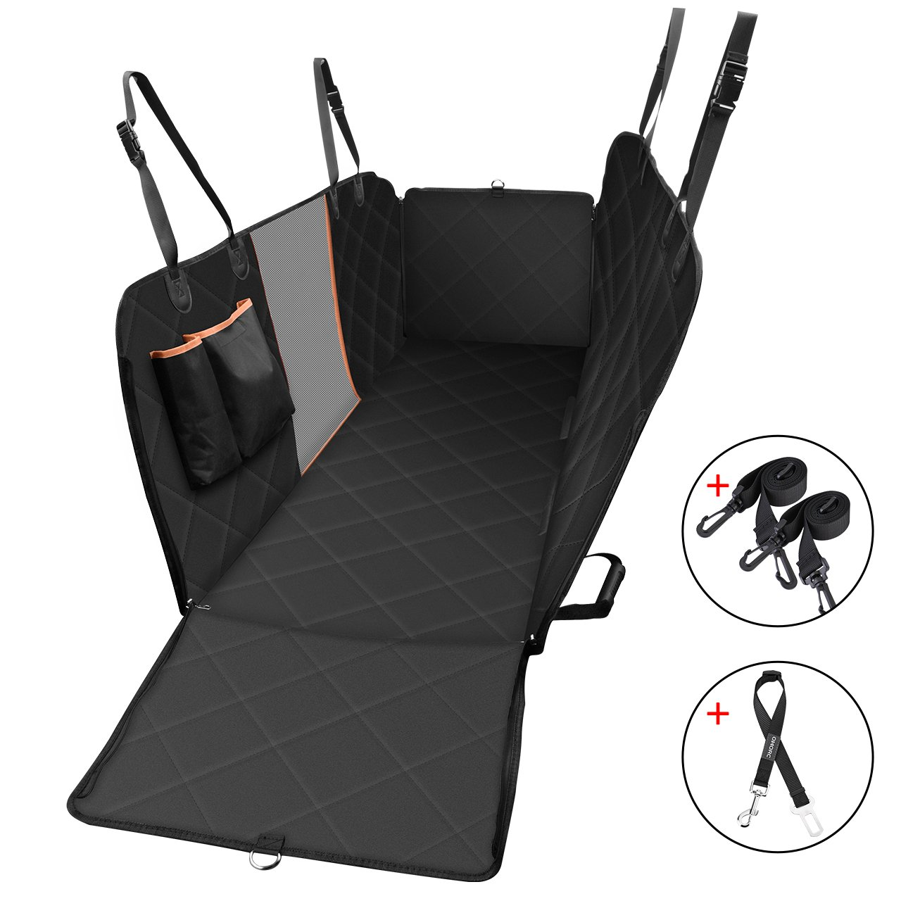 OMORC Dog Car Seat Cover with Mesh Viewing Window, Non-Scratch Waterproof Large Backseat Cover with a Storage Pocket, Nonslip Backing and Seat Anchors, Dog Travel Hammock Convertible for Cars, Trucks