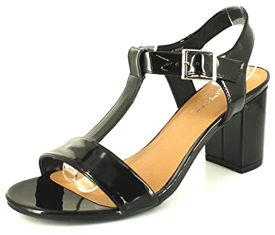 New Ladies Womens Black Patent T-Bar Strappy Sandals with Block Heels. -