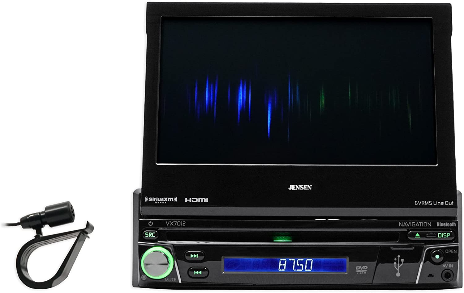Jensen VX7012 7 inch LCD Multimedia Retractable Touch Screen Single Din Car Stereo with Built-in Bluetooth CD//DVD Player /& USB//microSD Ports