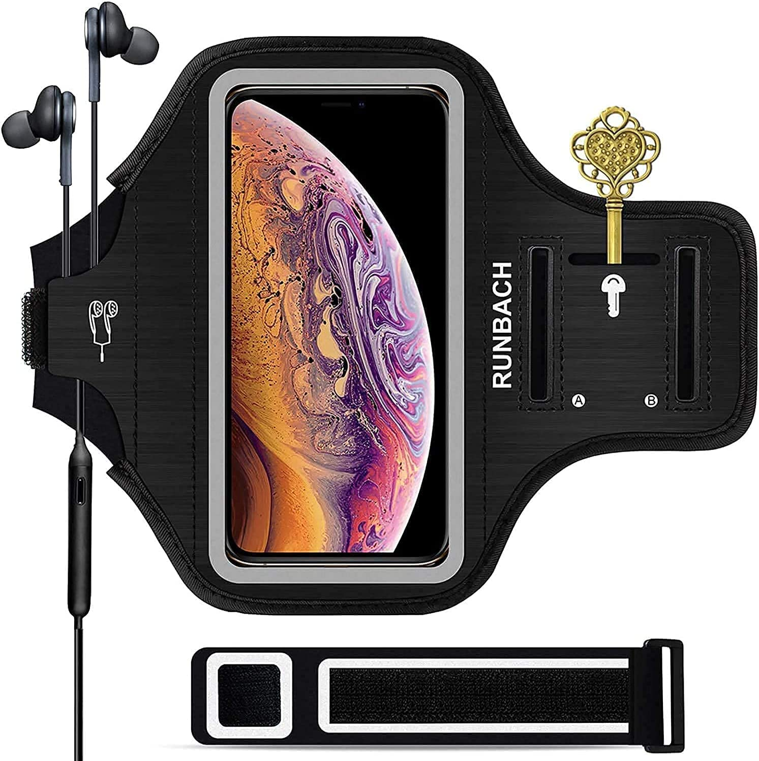 iPhone 11 Pro Max/12 Pro Max/iPhone Xs Max Armband,RUNBACH Sweatproof Running Exercise Bag with Fingerprint Touch and Card Slot Compatible with iPhone 12 Pro Max,11 Pro Max,XS Max (Black)