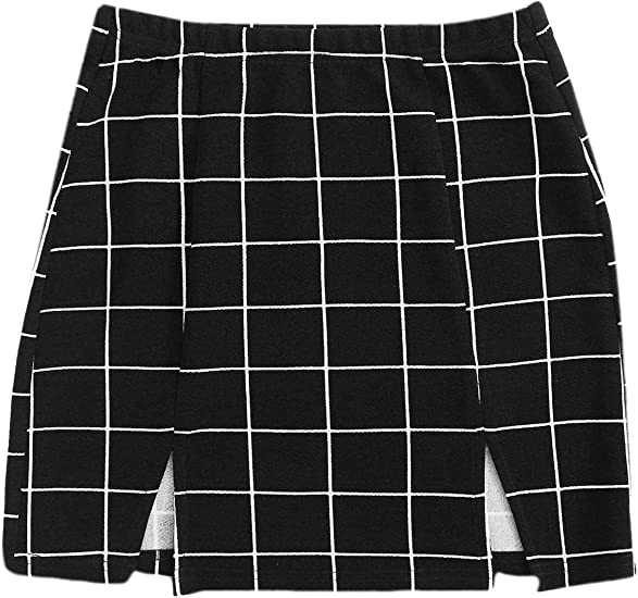 WDIRARA Womens Basic High Waist Bodycon Mini Plaid Uniform Skirt