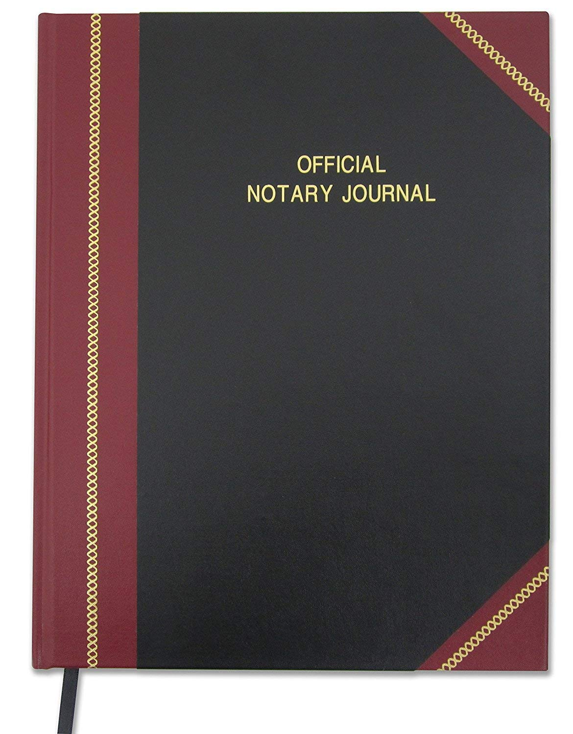 BookFactory Official Notary Journal/Log Book 96 Pages 8.5'' X 11'' 380 Entries 50 State Journal of Notarial Acts, Black and Burgundy Cover, Black Ribbon Hardbound (LOG-096-7CS-LKMST71(Notary)) by BookFactory