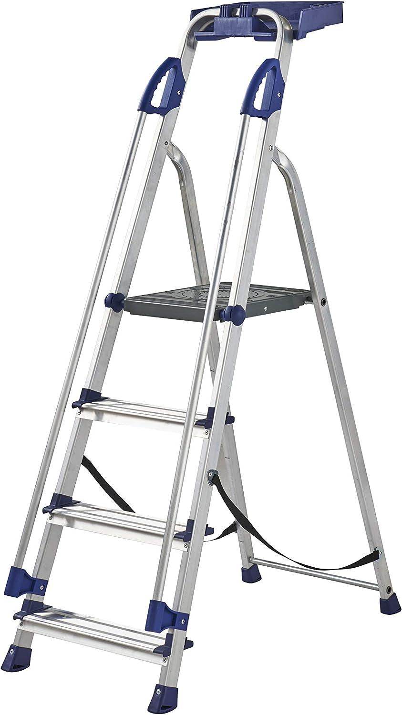 Werner 7050418 - Escalera de trabajo (4 peldaños), color plateado: Amazon.es: Bricolaje y herramientas