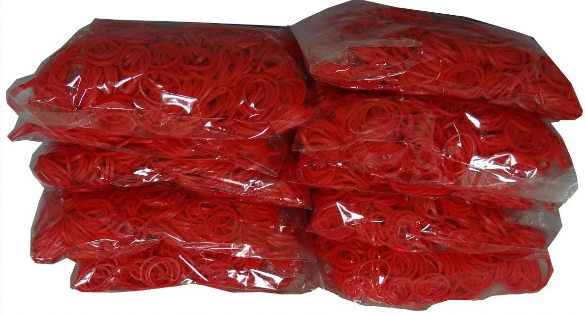 Blue Dot Trading 6000-Piece Red Rubber Bands Kids Craft with Rainbow Do It Yourself Bracelet Kit Refill Pack BlueDot Trading