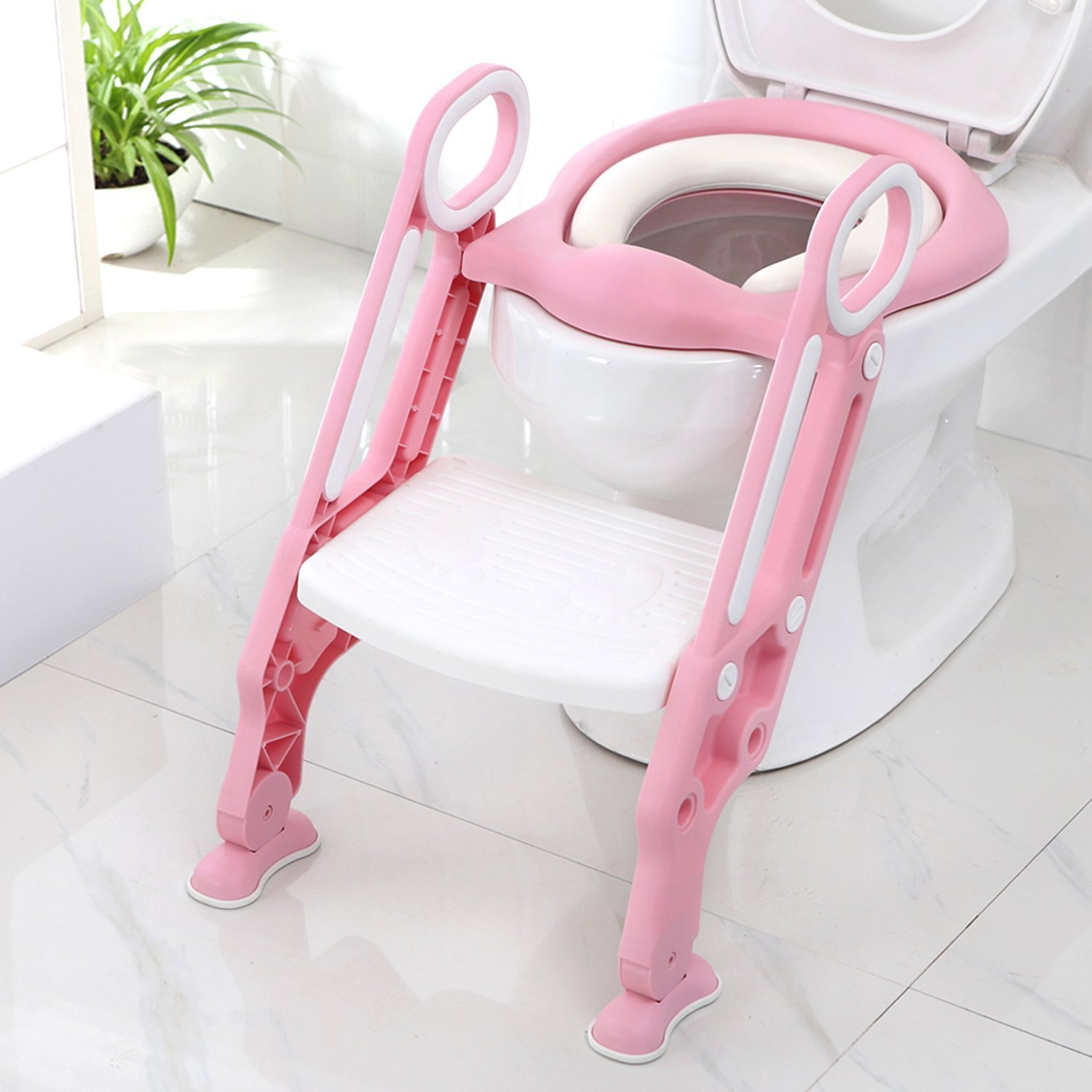 Potty Toilet Trainer Seat with Step Stool Ladder Adjustable Baby Toddler Kid Potty Toilet Seat for Boy and Girl Children's Toilet Training Seat Chair Mobay MB-MTT002