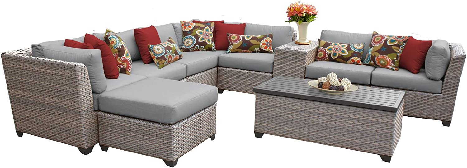 TK Classics FLORENCE-10b 10 Piece Outdoor Wicker Patio Furniture Set
