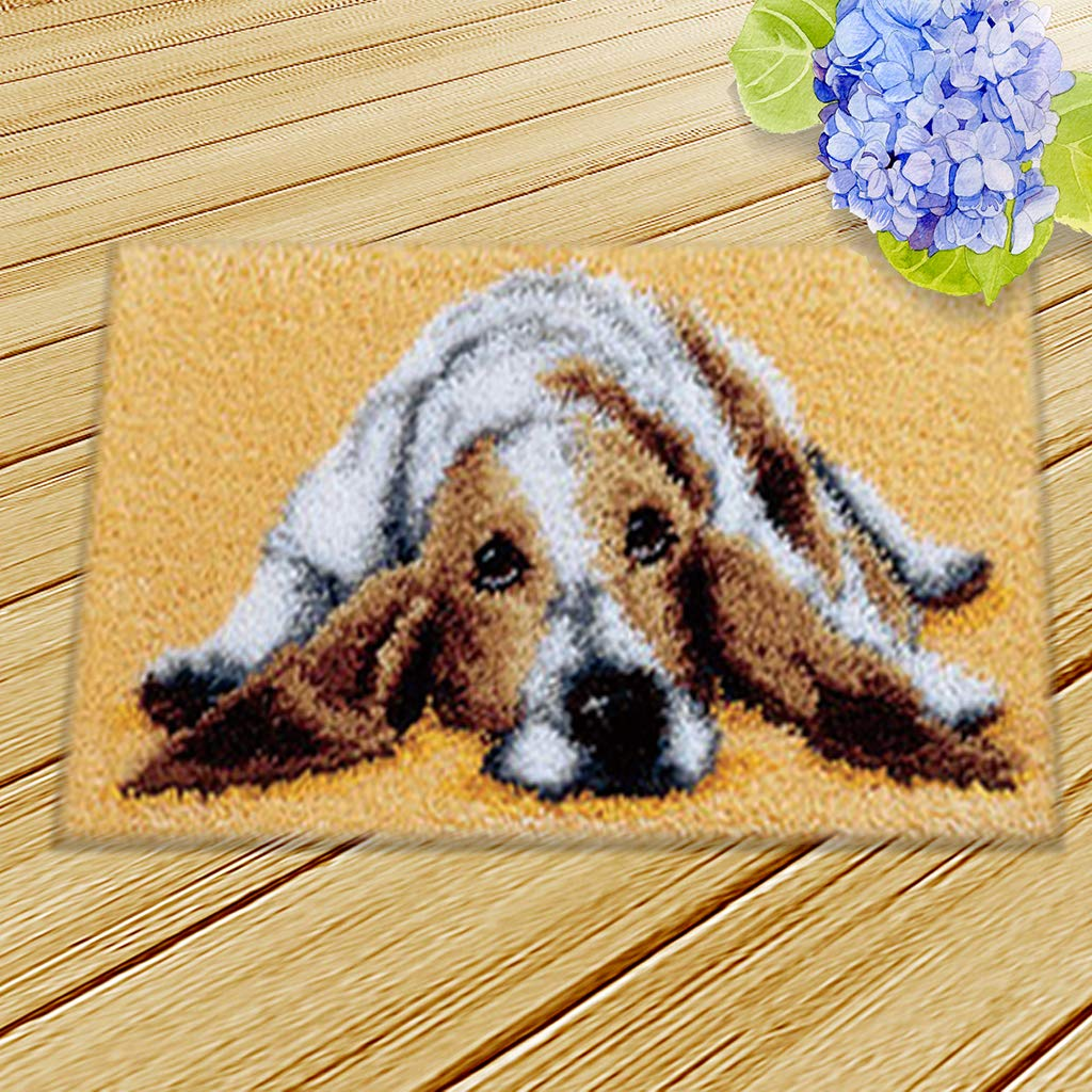 LoveinDIY DIY Latch Hook Kit Rug Making Crafts for Kids//Adults 20 inch X 12 inch Puppy Dog Carpet Mat Cushion Embroidery