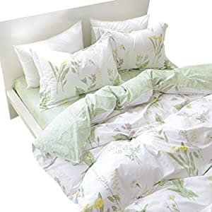 FADFAY Duvet Cover Set Twin Shabby Green Daisy and Lavender Flowers 100% Cotton Hypoallergenic 3-Piece-1duvet Cover & 2pillowcases-Twin Size