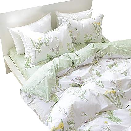 Amazon.com: FADFAY Duvet Cover Set Twin XL Shabby Green Daisy and