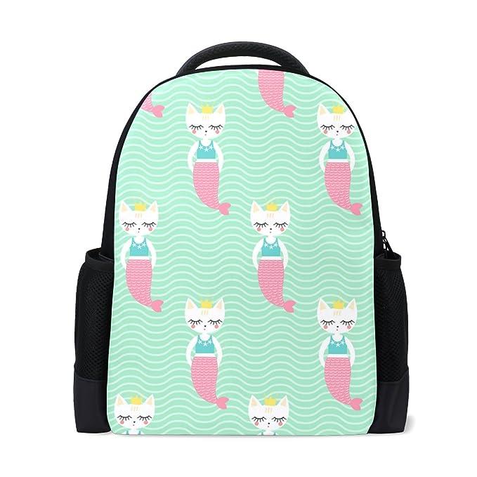 78f7cd14c088 Amazon.com   Book bag Cute Mermaid Cat With Crown Backpack School ...
