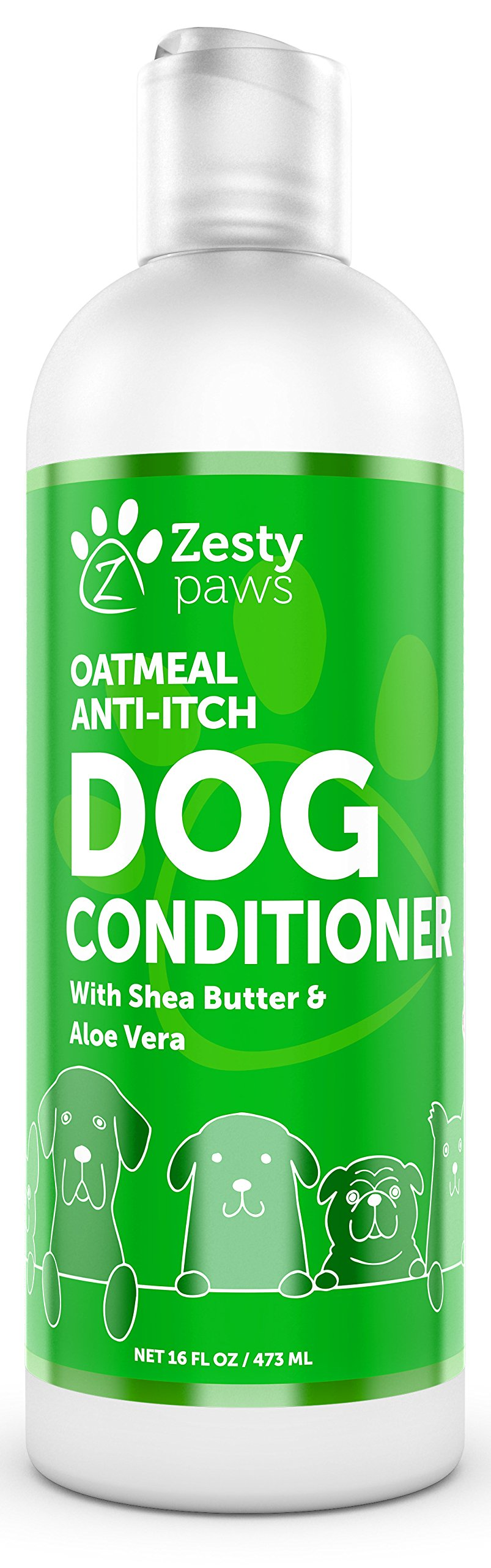 Zesty Paws Dog Conditioner with Oatmeal, Aloe Vera & Shea Butter - Natural Grooming Pet Wash for Skin & Coat - Anti Itch Formula - Vanilla Bean Scent - 16 OZ