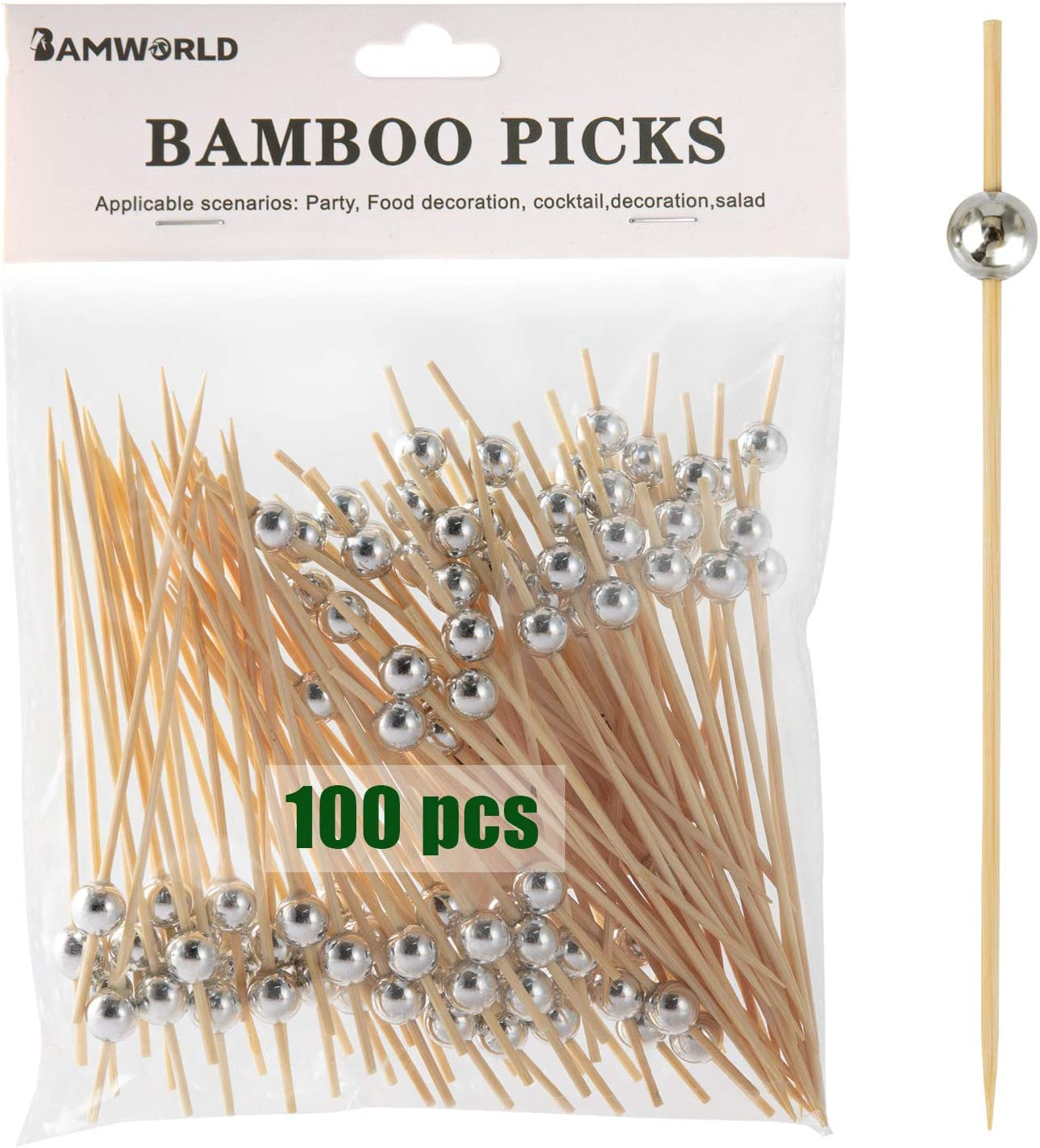 Bamboo Cocktail Picks Bamboo Skewers Appetizer Picks 4.7 Inch Food Picks with Handmade Design Skewers for Party Fruit and Food Snacks (Silver, 100)