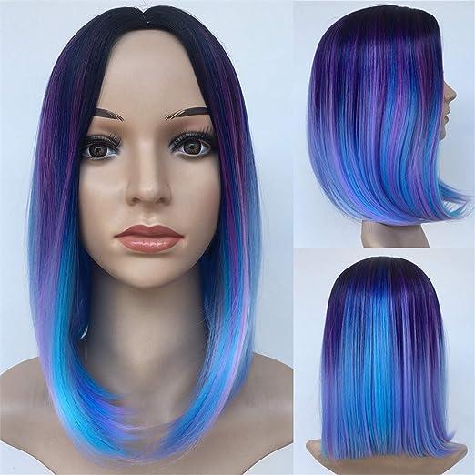 pelucas de colores cosplay cortos lisos cabello Natural ...