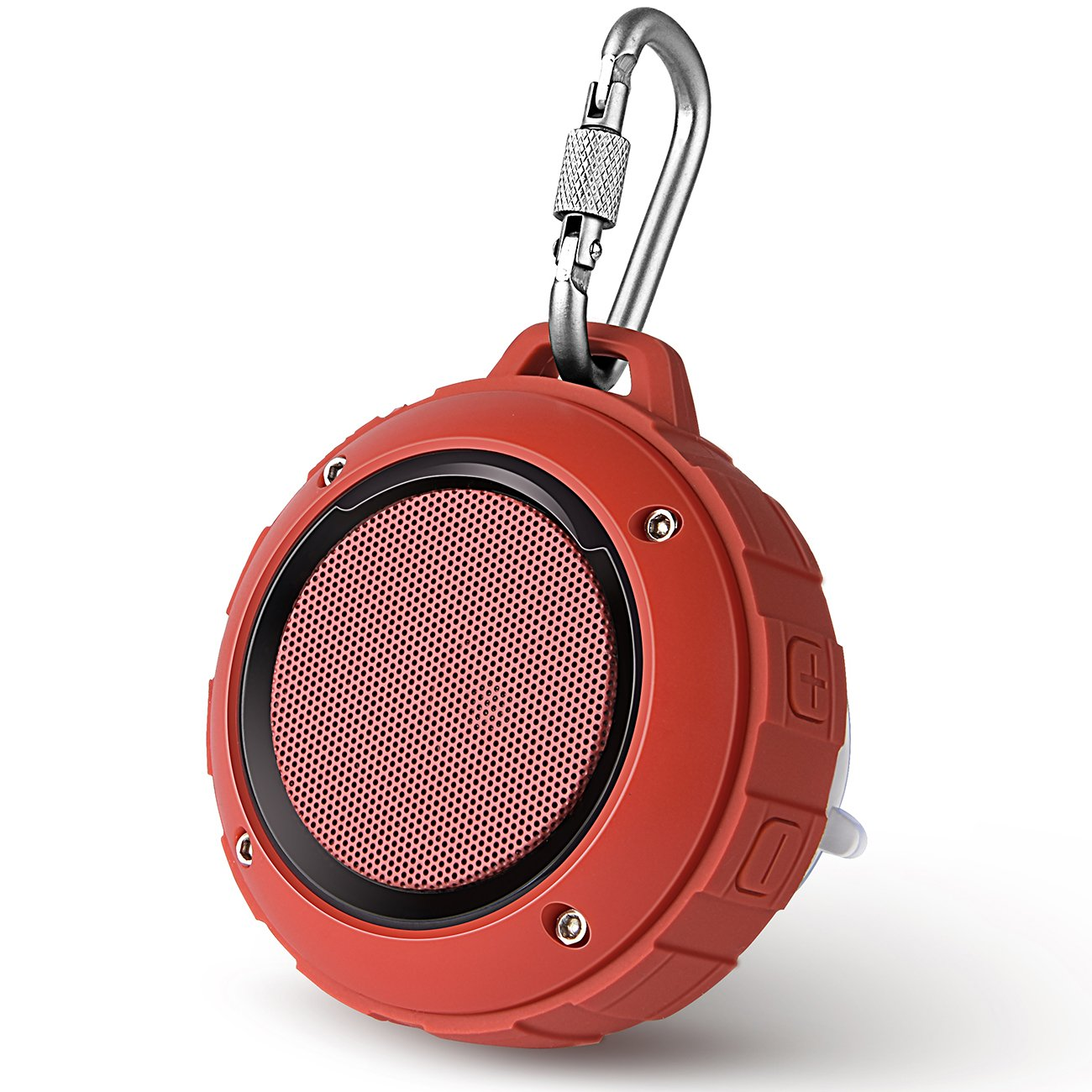 Outdoor Waterproof Bluetooth Speaker,Kunodi Wireless Portable Mini Shower Travel Speaker with Subwoofer, Enhanced Bass, Built in Mic for Sports, Pool, Beach, Hiking, Camping (Red) 4326553680