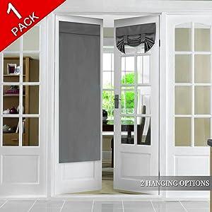 Flamingo P Tricia Window Door Curtains, Deep Gray Blackout Curtain Rod Pocket, Single Panel, 26 x 68 Inches