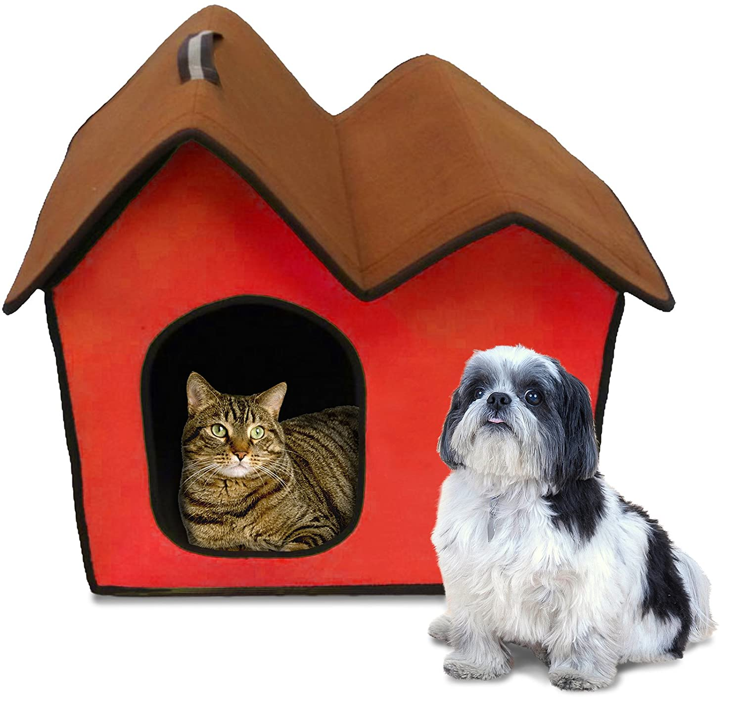 Red Penn-Plax ZH5 Dog Zipper House with Double Roof, Red