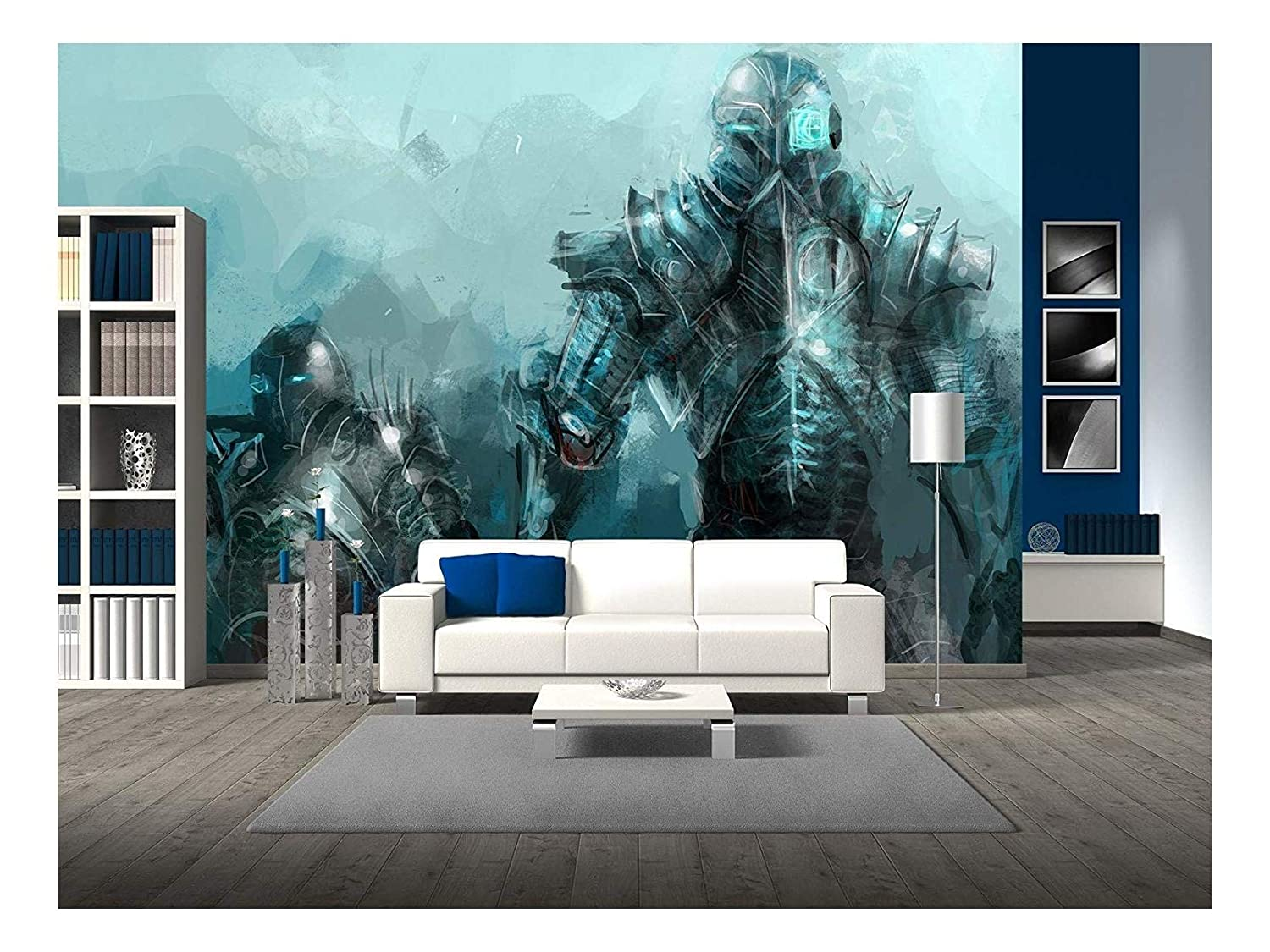 wall26 - cybernetics Army, Concept Art Soldiers - Removable Wall Mural | Self-Adhesive Large Wallpaper - 100x144 inches