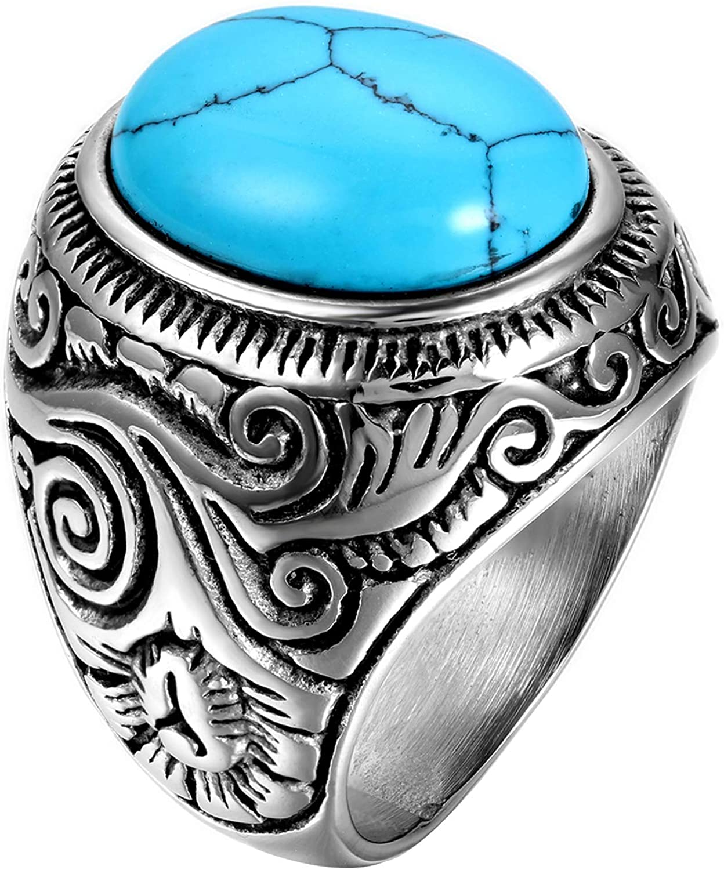 OIDEA Anillo para Hombre Mujer Acero Inoxidable Piedra de Turquesa Artificial Joyería 12 (21.3mm) Regalo San Valentín Compromiso Boda, Azul Plata