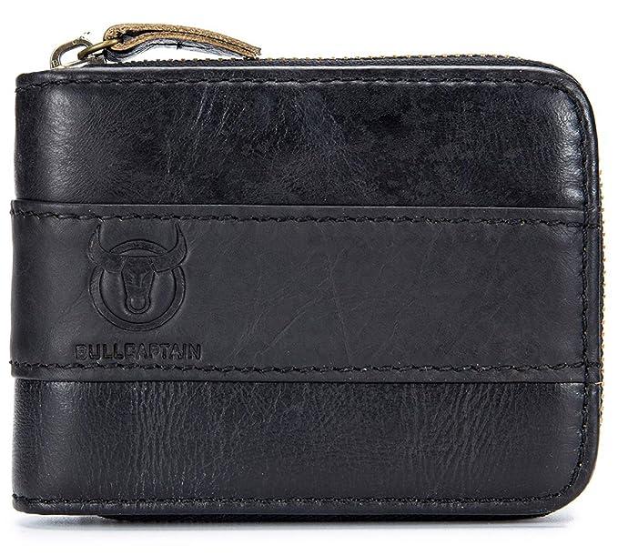 04f36e31aa50 Mens Genuine Leather Wallet, RFID Blocking Vintage Bifold Zip Around Credit  Card Holder