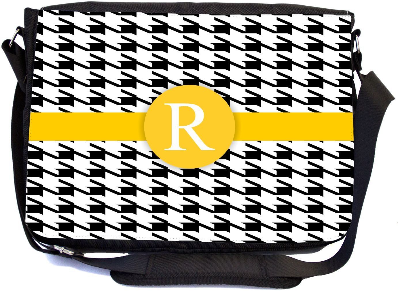 mbcp-cond46367 Messenger School Bag Rikki Knight LetterR Yellow Houndstooth Monogram Design