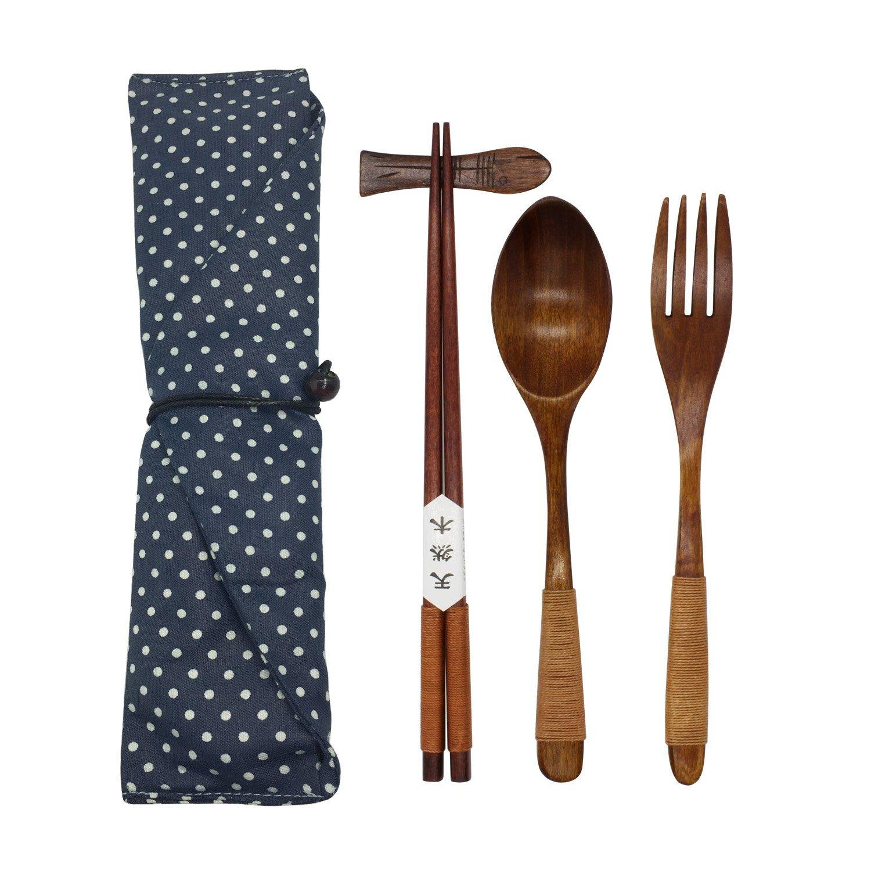 Japanese Natural Wooden Tableware Sets of 5-pieces (1 Spoon, 1 Chopsticks, 1 Fork, 1 Chopsticks Holder, 1 Tableware Bag) (Q15101)