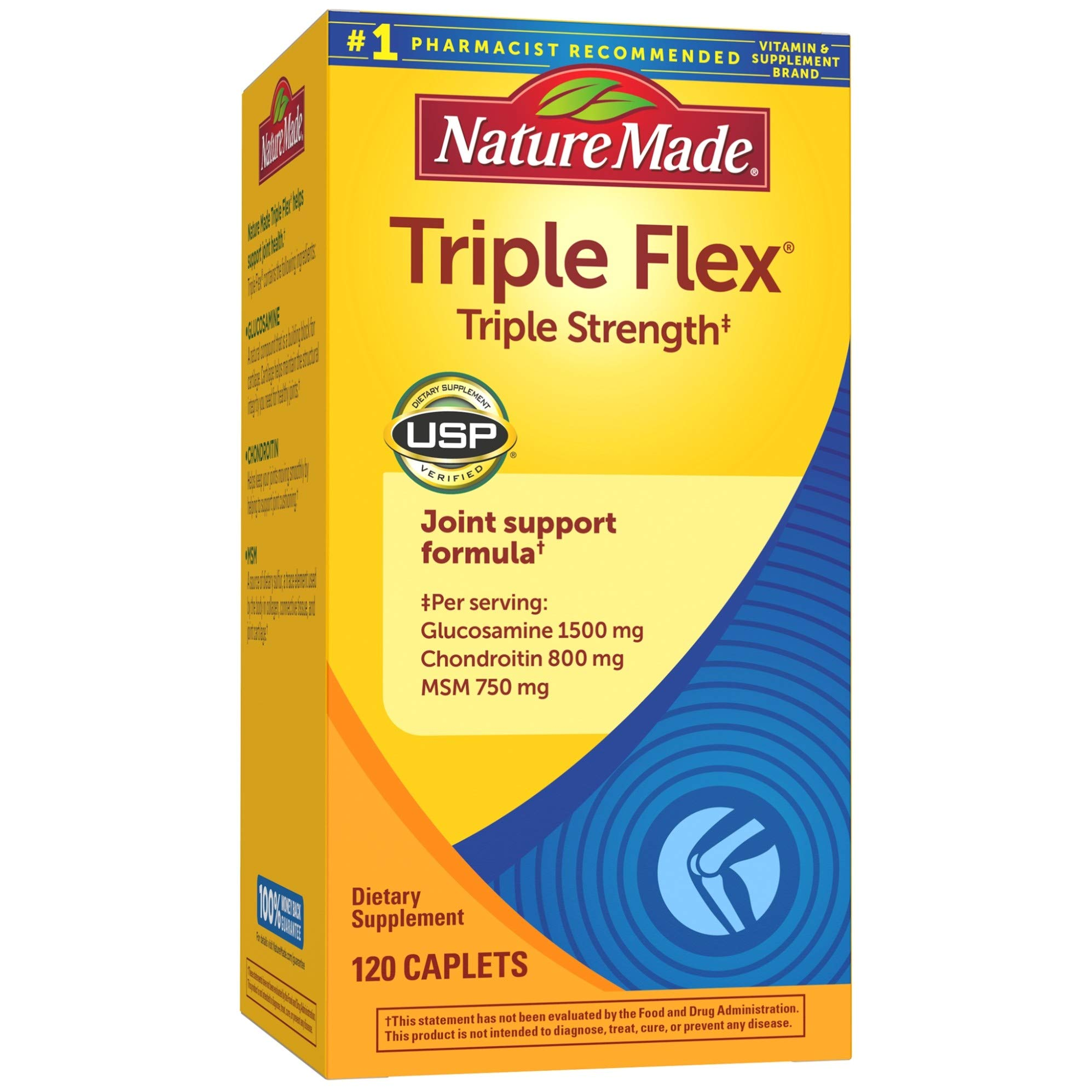 Triple Flex Triple Strength Caplets, 120 Count for Joint Support