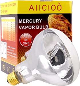 UVB Reptile Light - 160W UVA UVB Mercury Vapor Bulb High Intensity Sun Simulating Bulb Lamp for Reptile and Amphibian Use