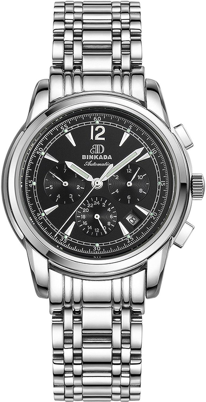 BINKADA 6ポインタ自動機械ブラックダイヤルメンズ腕時計# 706203 – 2 B01DZKZOWA