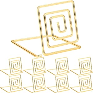 Chuangdi 20 Pieces Wire Place Card Holder Metal Card Holder Stand Wedding Name Place Holder for Weddings, Dinner Parties, Food Signs (Style 1, Gold Color)