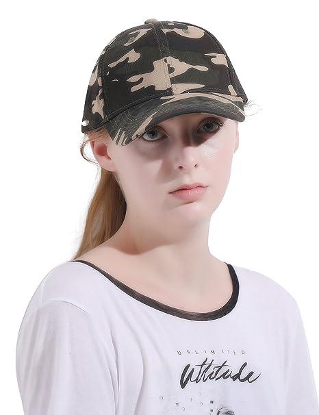c736fbc8 Alljoin Messy Buns Damaged Denim Fabric with Ponytail Baseball Cap for Women  Men (Camouflage Green): Amazon.co.uk: Clothing