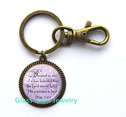 Bible Quote Keychain Best Friend God Refuge Strength Birthday Gift Mom Daughter Jewelry Sympathy