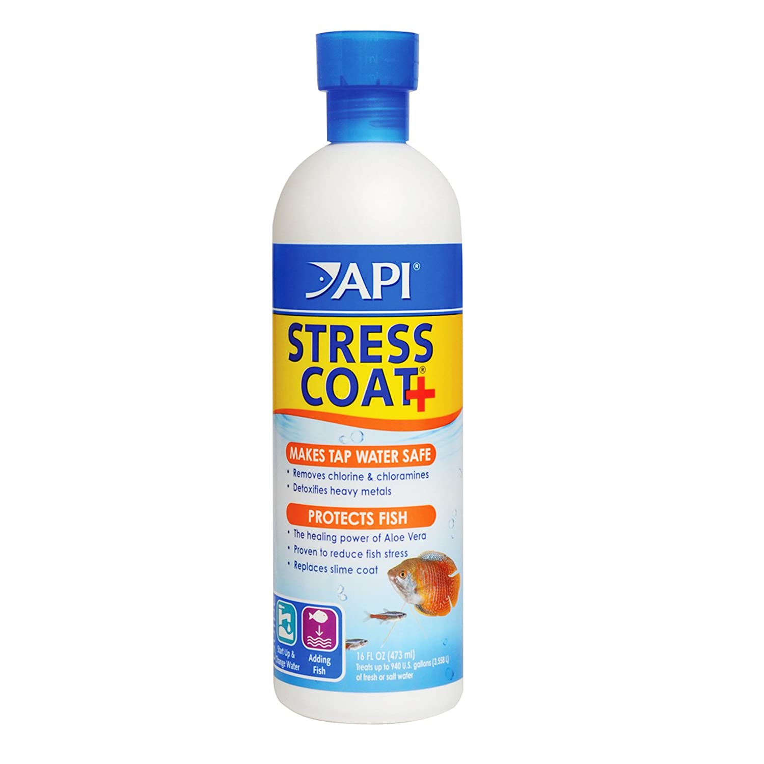 B000255MZG API Stress Coat Water Conditioner, Makes tap Water Safe, Replaces fish's Protective Coat Damaged by handling or Fish Fighting, Use When Adding or Changing Water, Adding Fish and When Fish are Injured 713Ne2JzZ0L