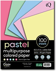 iQ Multipurpose Pastel Colored Copy Paper, Laser and Inkjet Compatible, 8.5 x 11 Inches, 24 Lb., 90 GSM, 100 Sheets (80110)