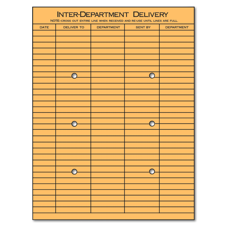 Universal 63568 Light Brown Kraft String & Button Interoffice Envelope, 10 x 13 (Box of 100)