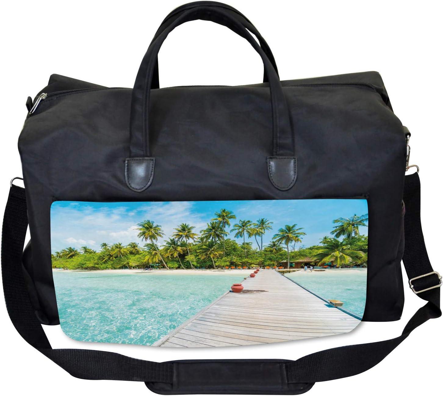 Large Weekender Carry-on Maldives Island Beach Ambesonne Tropical Gym Bag