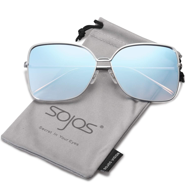 SOJOS Gafas De Sol Para Mujer Moda Cuadrado Oversized Lente Plano Marco Metal SJ1082 product image