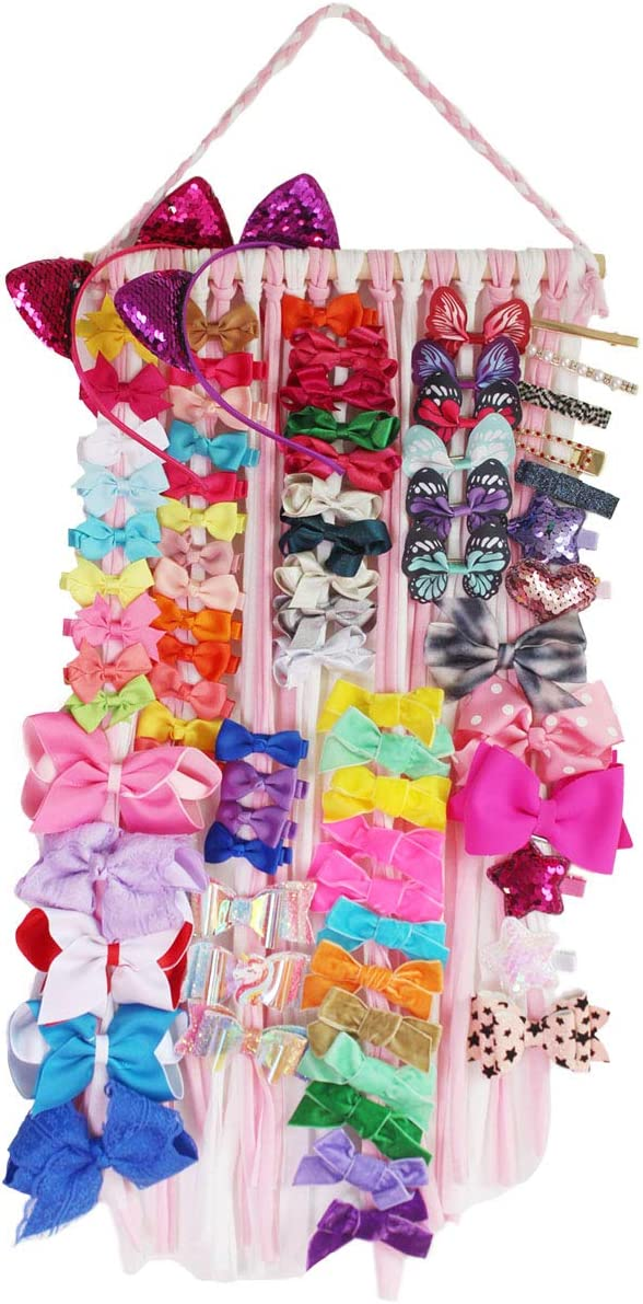 Qearl Hair Bow Holder Organizer Baby Hair Accessories Storage Display for Baby Girls Room Door Wall