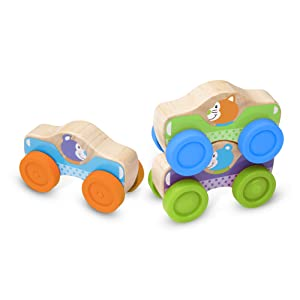 Melissa & Doug First Play Wooden Animal Stacking Cars (Baby & Toddler Developmental Toy, 3 Pieces, Great Gift for Girls and Boys - Best for Babies and Toddlers, 9 Month Olds, 1 and 2 Year Olds)