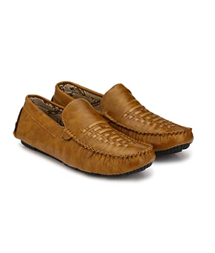 95a6e0a1b9a Tan Brown Striped Casual Men Loafers   Moccasins Shoes For Men s ...